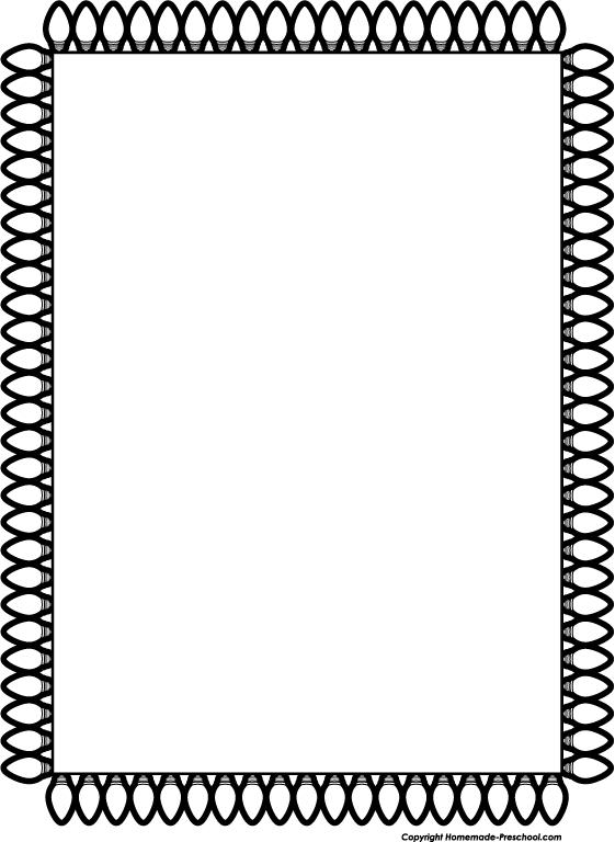 561x768 Christmas Tree Border Clip Art Black And White