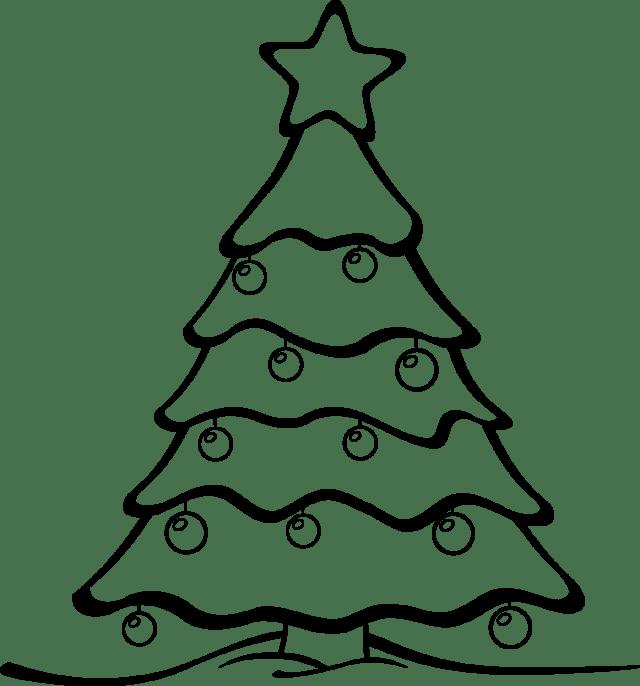 640x686 Christmas Tree Clip Art Black White Merry Christmas