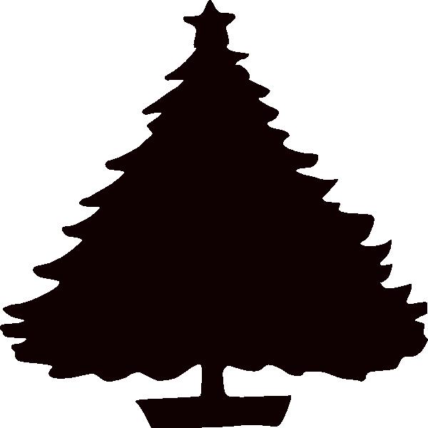 600x600 Xmas Tree Black Clipart