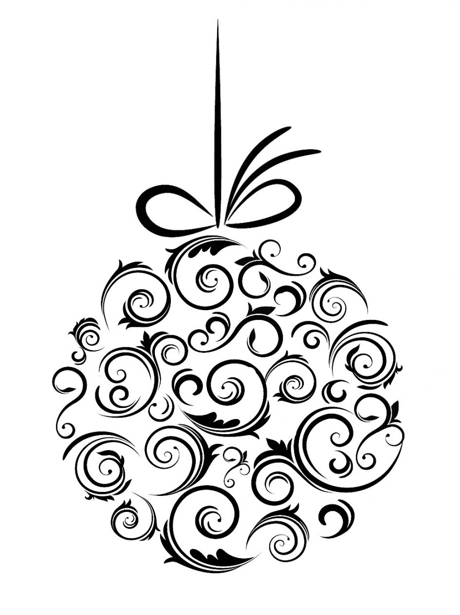 945x1265 Christmas Ornaments Christmas Ornament Clipart Black And White