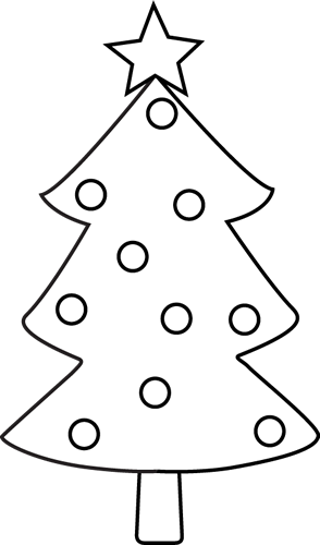 294x500 Black And White Christmas Tree Clip Art