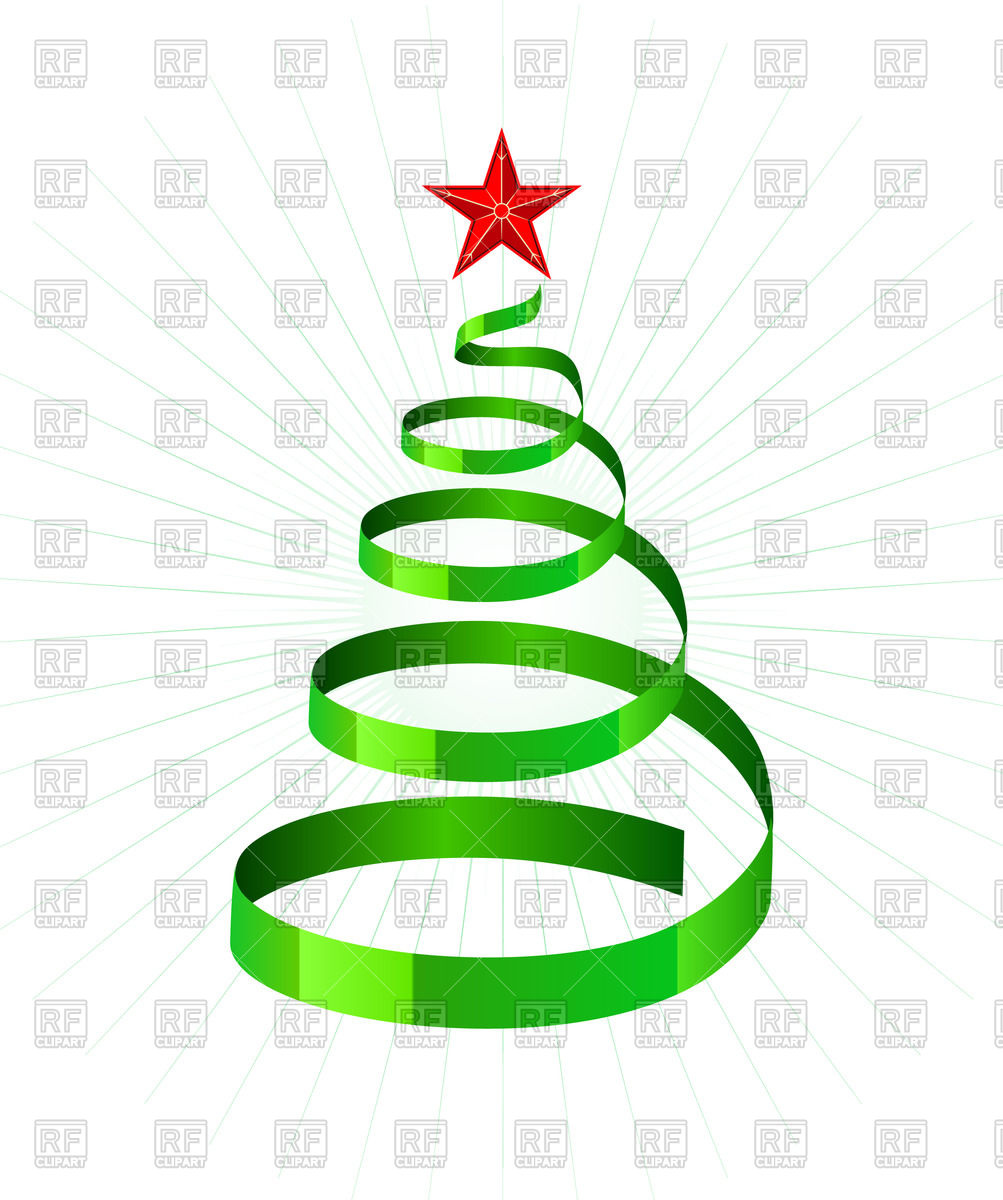 1003x1200 Green Spiral Ribbon As Symbolic Xmas Tree Royalty Free Vector Clip