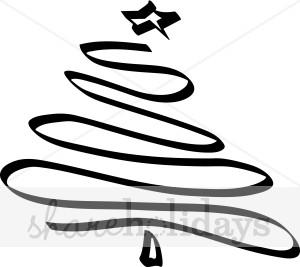 300x267 Line Swirls Christmas Tree Clipart