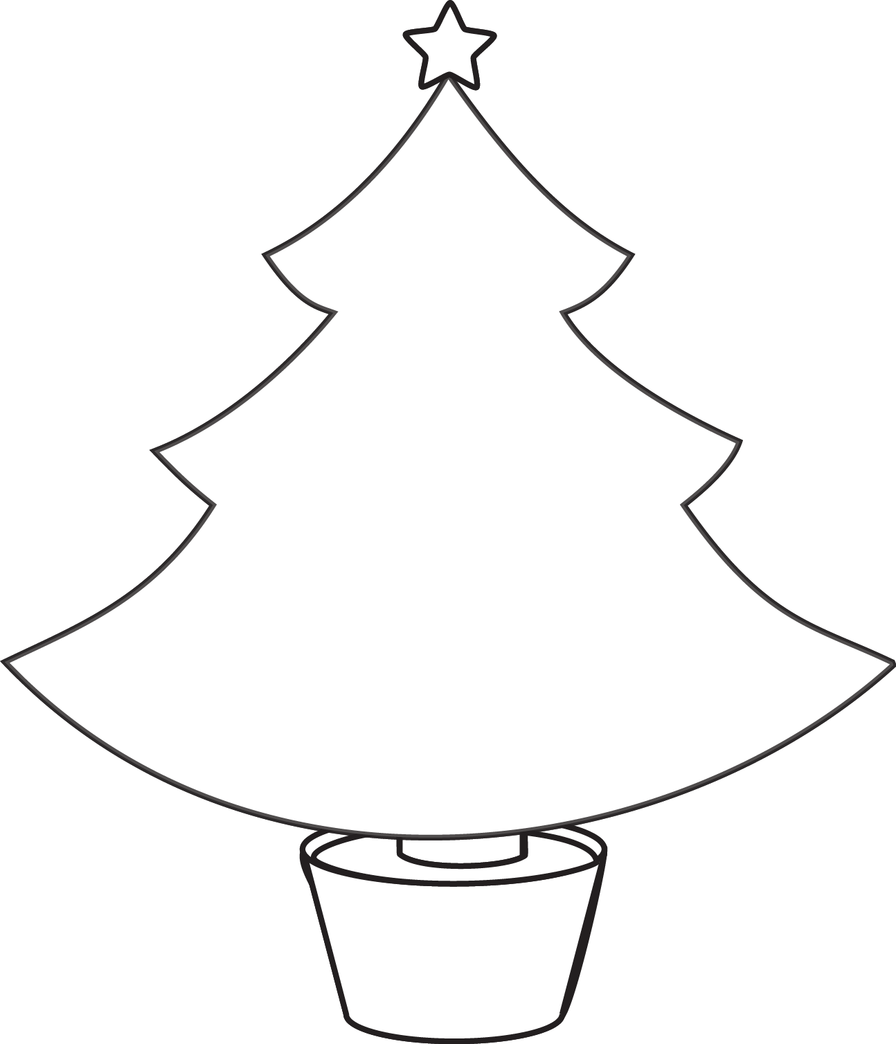 1294x1508 Christmas Tree Outline On Black Clipart