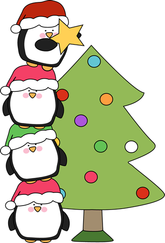 341x500 Penguins Putting A Star On A Christmas Tree Clip Art