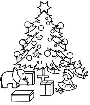 300x350 Christmas Gifts Coloring Sheets Christmas Tree Coloring Pages