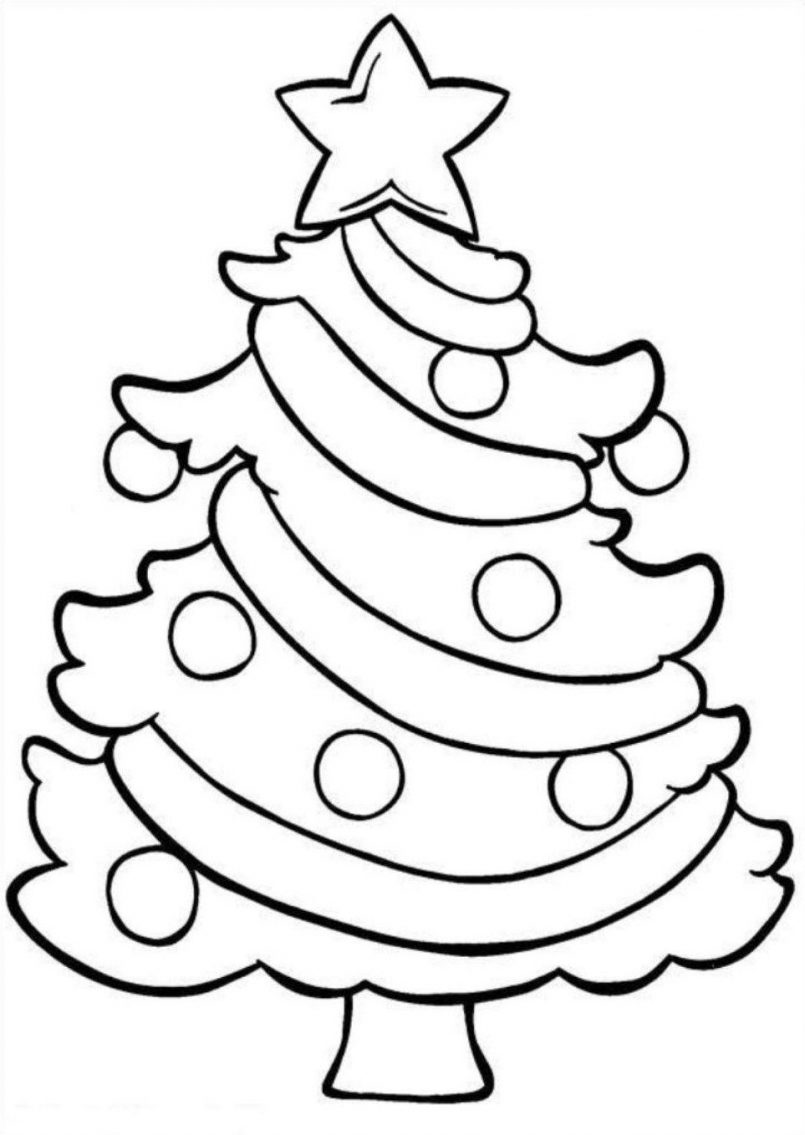 805x1135 Coloring Pages Kids Easy Free Christmas Tree