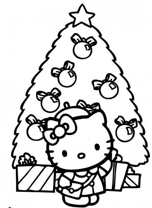 518x708 kitty standing in front of big christmas tree coloring pages