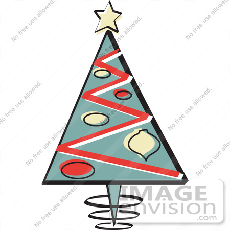 450x450 Royalty Free Cartoon Clip Art Of A Triangular Christmas Tree With