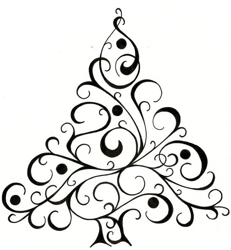736x796 Christmas Tree Drawing Christmas Design For Cards Christmas Tree
