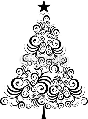 296x400 Christmas tree black outline Wall Mural • Pixers® • We live to