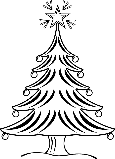 463x640 Free Christmas Tree Outline Clipart Black And White
