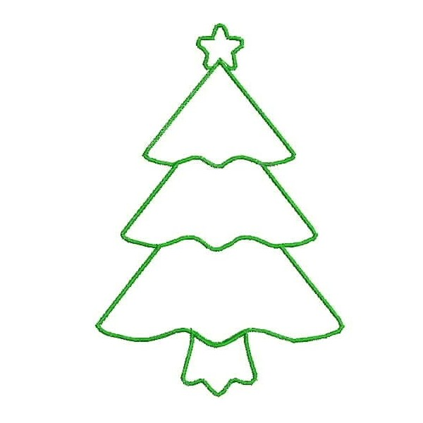 600x600 Green Christmas Tree Outline Clipart