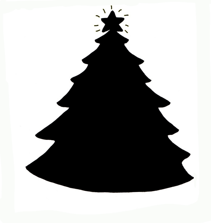 686x726 Christmas Silhouettes Of Christmas Tree With Star Clipart