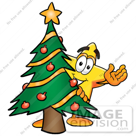 450x450 Clip Art Graphic of a Yellow Star Cartoon Character Waving and