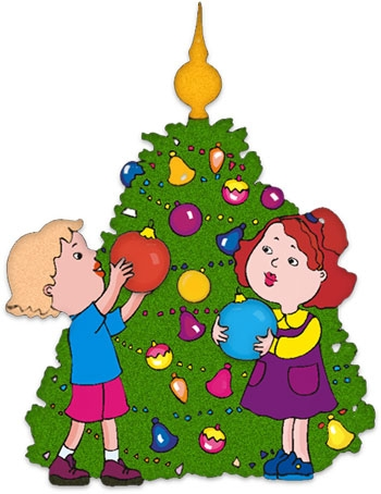 350x454 christmas clipart of a star on top of a christmas tree decorated