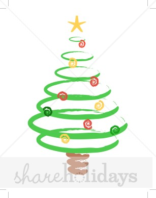 307x388 Christmas Tree In Brushstroke Swirls Christmas Tree Clipart