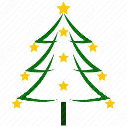 256x256 Color Outline Christmas Tree Icon