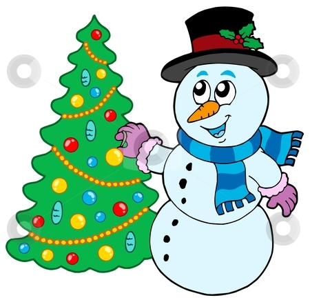 450x435 Snowman Christmas Tree Clipart
