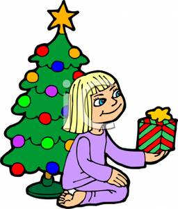 256x300 Image A Girl Holding a Christmas Present Sitting In Front of a