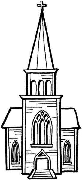 273x600 Church Clipart Black And White