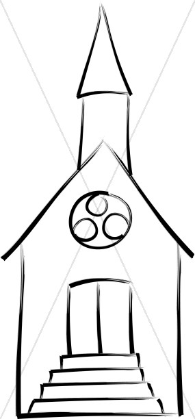 285x612 Brushstroke Outline Church Church Clipart
