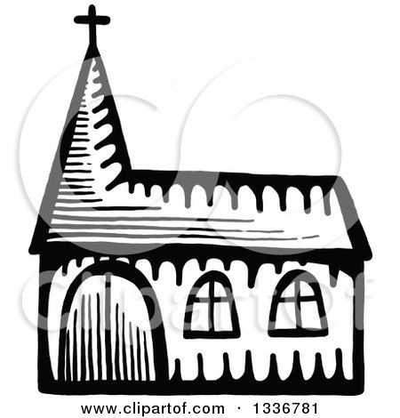 450x470 Clipart Of A Sketched Doodle Of A Church Building