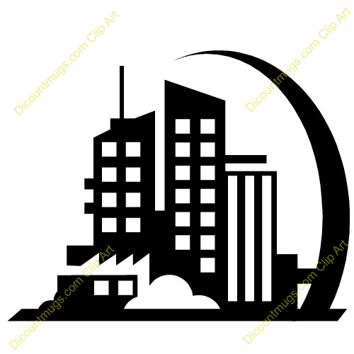 500x500 Building Clipart Black And White