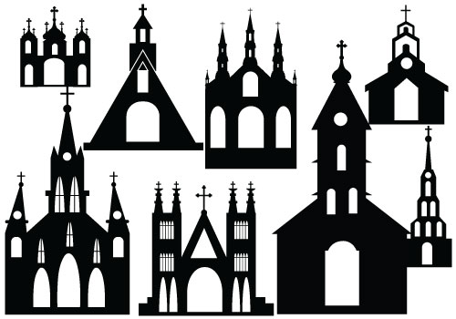 500x350 Silhouette Castle And Church Clipart