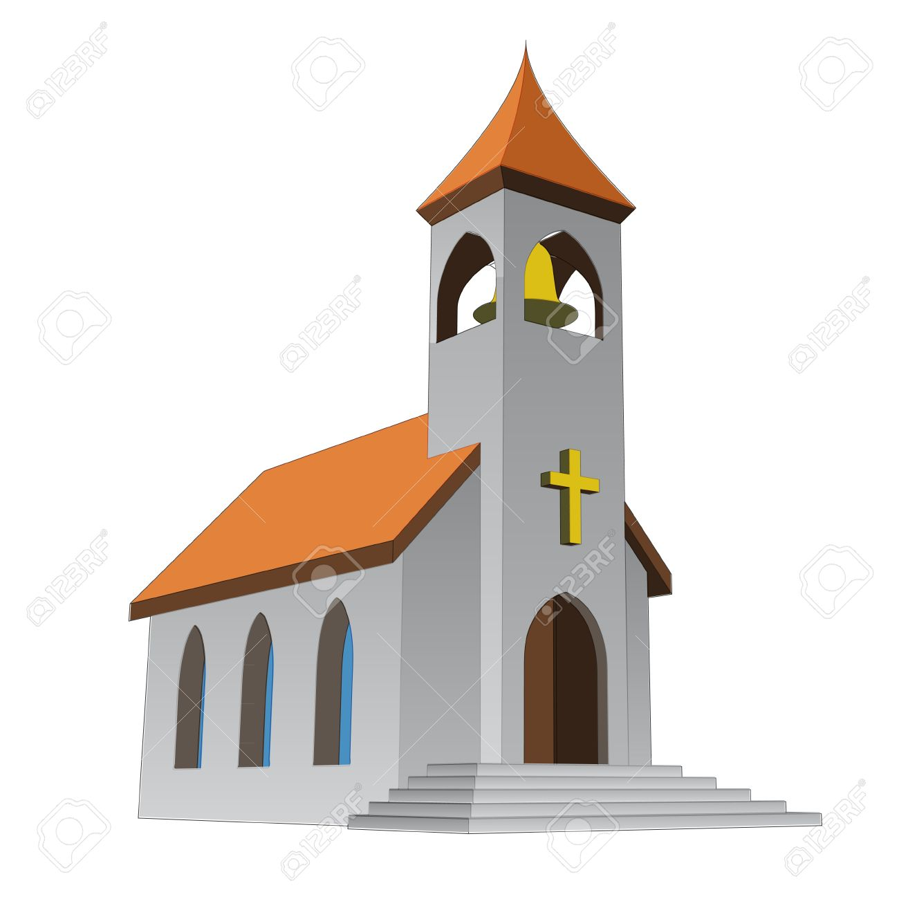 1300x1300 Rural Isolated Church For Catholics With Bell Vector Illustration