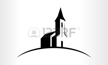450x271 Black And White Church Vector Clip Art Image Royalty Free Cliparts