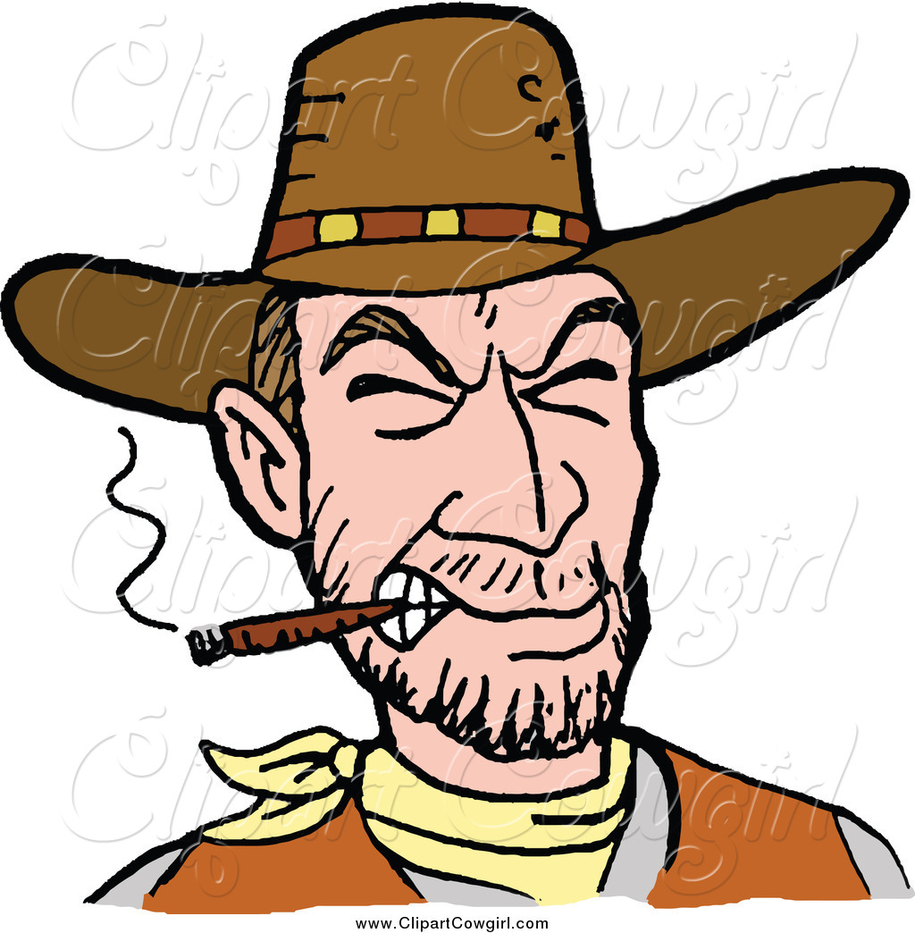 1024x1044 Clipart Of A White Cowboy Smoking A Cigar By Lafftoon