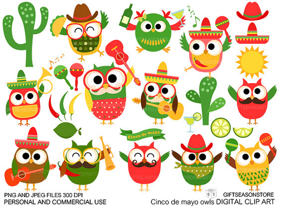 570x418 Cinco De Mayo Owl Digital Clip Art For Personal And Commercial