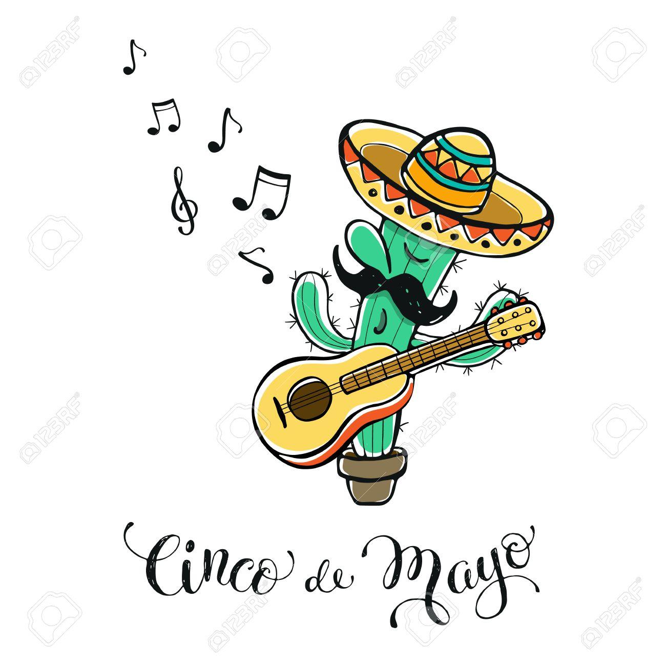 1300x1300 Funny Cinco De Mayo Illustration. Cartoon Cactus In Mexican Hat