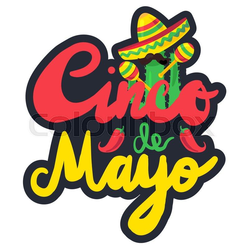 800x800 Cinco De Mayo Festival Label With Pepper, Cactus, Mustache