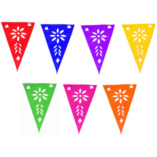 521x521 Cinco De Mayo Decorations Multicolor Plastic Picado Pennant Banner