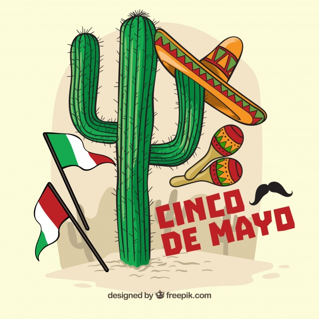 626x626 Cinco De Mayo Background With Cactus And Mexican Elements Vector