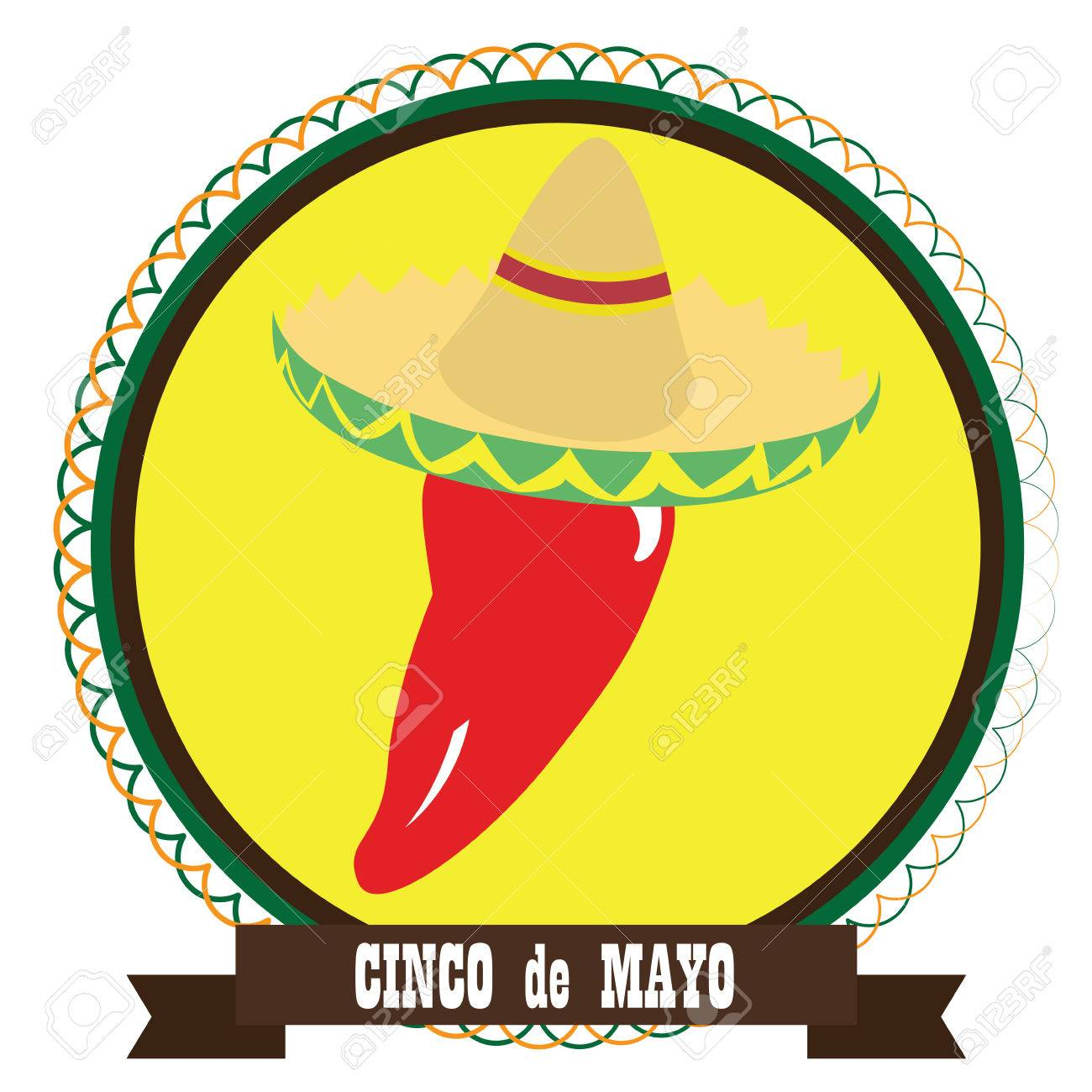 1300x1300 Isolated Tag With A Pepper With Hat, Cinco De Mayo Vector