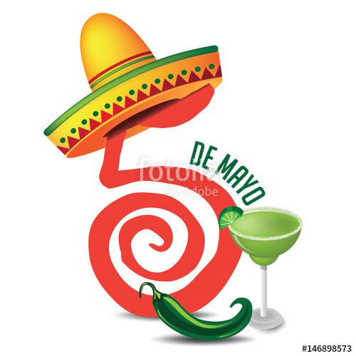 500x500 Cinco De Mayo Lettering And Sombrero For Celebration