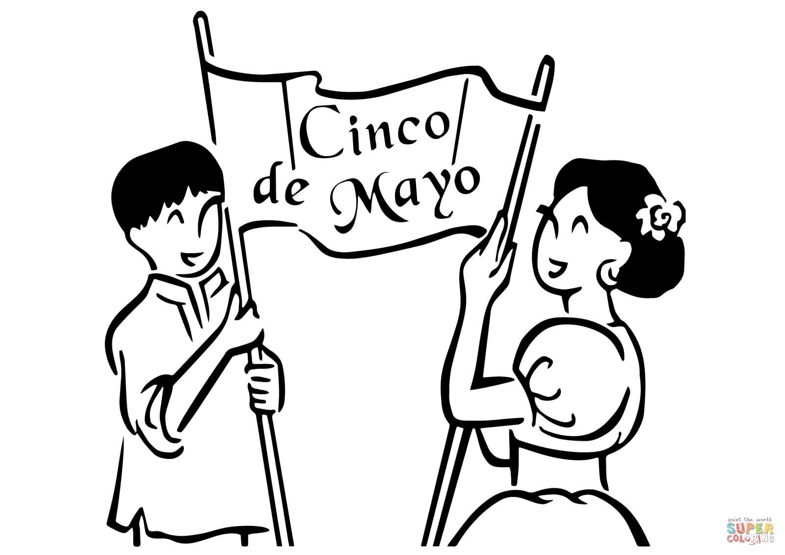 1600x1131 Cinco De Mayo Banner Coloring Page Free Printable Coloring Pages