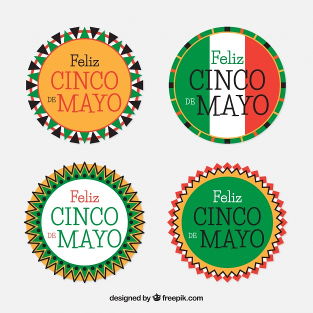 626x626 Pack Of Cinco De Mayo Round Stickers Vector Free Download