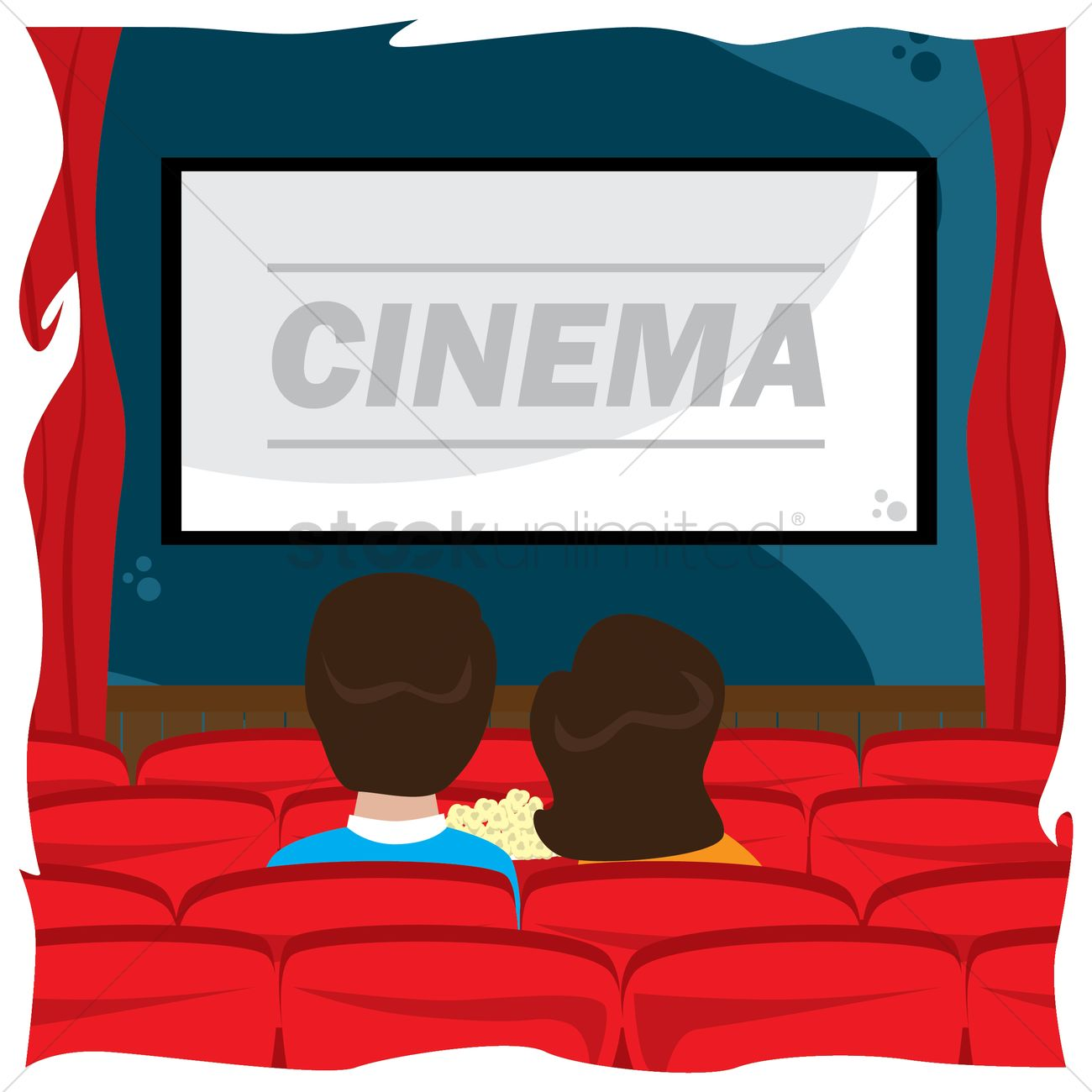 1300x1300 Couple Watching Cinema Vector Image
