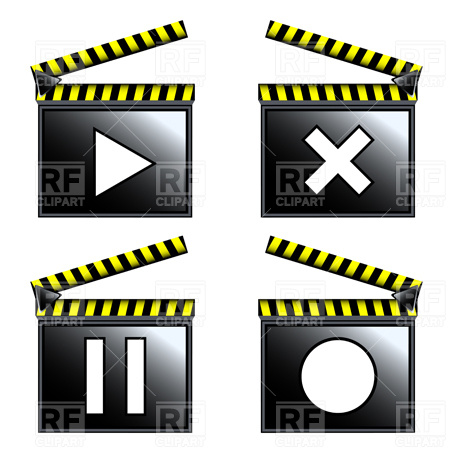 453x453 Movie Cinema Clapboard Icons Royalty Free Vector Clip Art Image