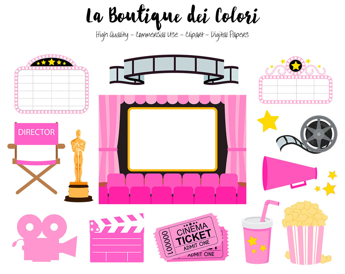 1160x922 Pink Movie Theater Clip Art, Cute Vector Graphics