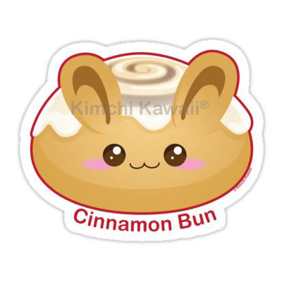 400x400 Punny Buns Cute Cinnnamon Bun 2 Pun Vinyl Sticker Kimchi Kawaii