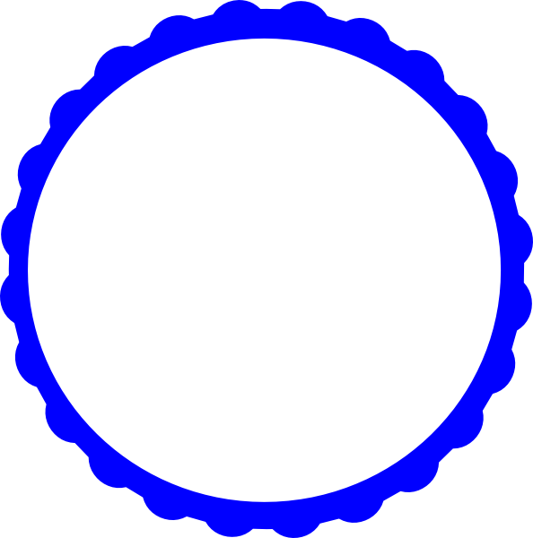 594x600 Blue Scallop Circle Frame Png, Svg Clip Art For Web