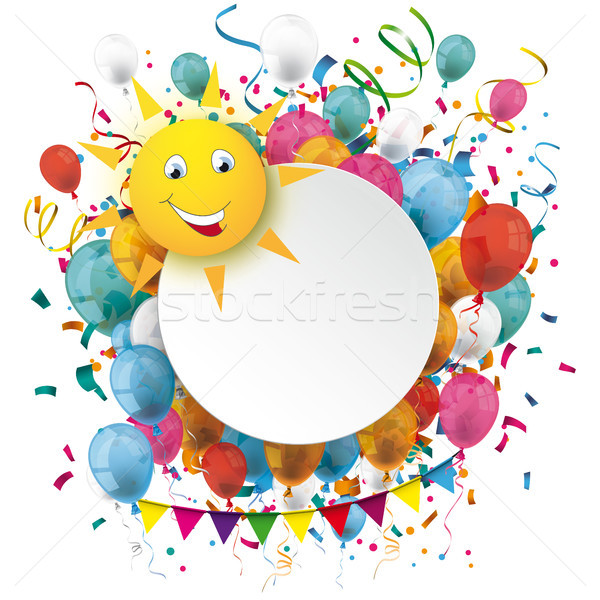 600x600 Golden Paper Circle Balloons Confetti Funny Sun Vector