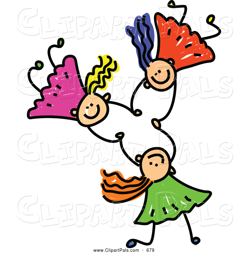 1024x1044 Pal Clipart Of A Childs Sketch Of Three Kids Holding Hands While