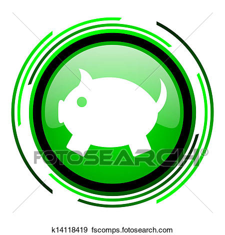 450x470 Stock Illustration Of Piggy Bank Green Circle Glossy Icon