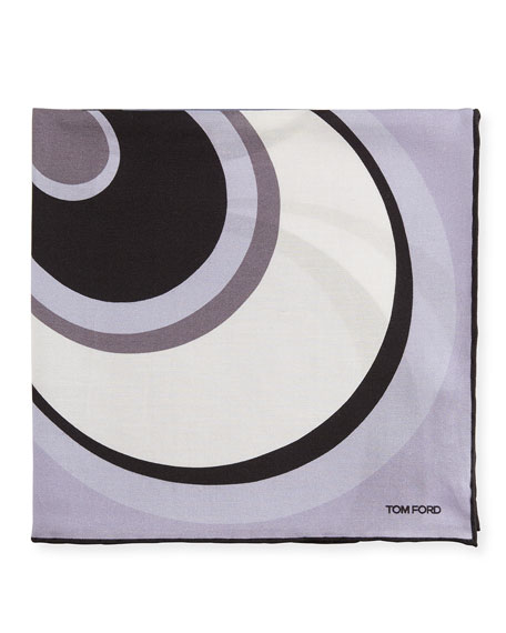456x570 Tom Ford Circle Swirl Pocket Square, Lavender